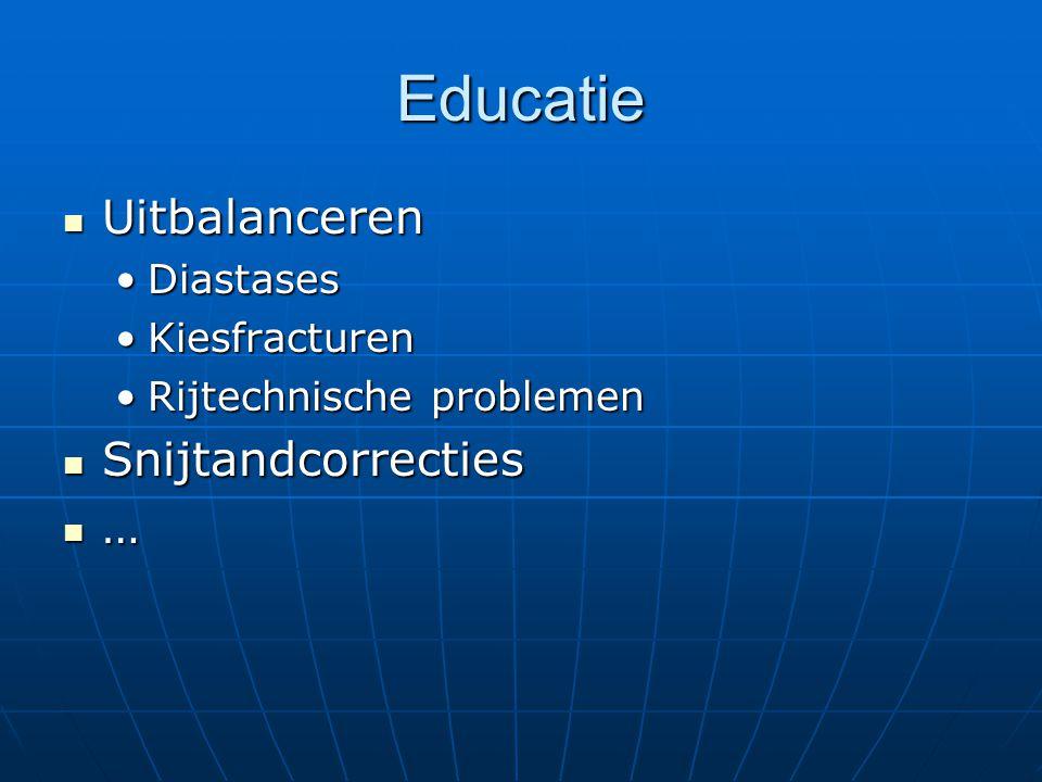 Educatie Uitbalanceren Uitbalanceren DiastasesDiastases KiesfracturenKiesfracturen Rijtechnische problemenRijtechnische problemen Snijtandcorrecties S