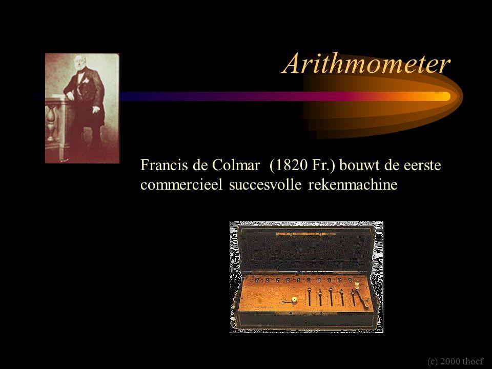 Arithmometer Francis de Colmar (1820 Fr.) bouwt de eerste commercieel succesvolle rekenmachine (c) 2000 thocf