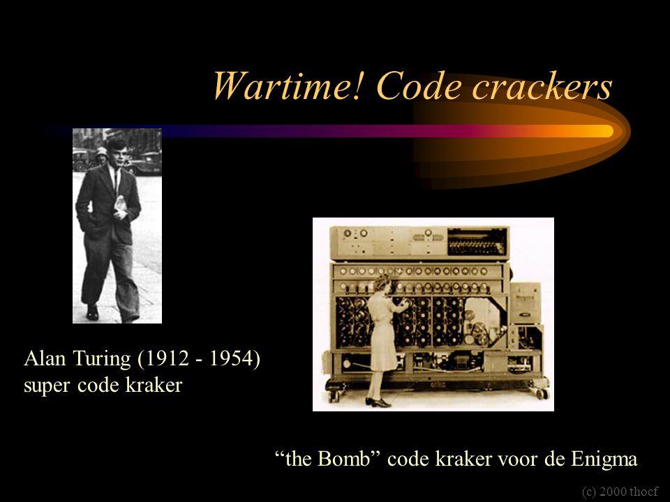 """Wartime! Code crackers Alan Turing (1912 - 1954) super code kraker """"the Bomb"""" code kraker voor de Enigma (c) 2000 thocf"""