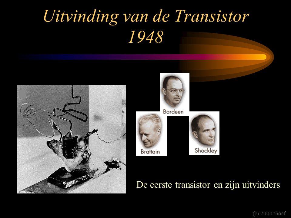 Uitvinding van de Transistor 1948 De eerste transistor en zijn uitvinders (c) 2000 thocf
