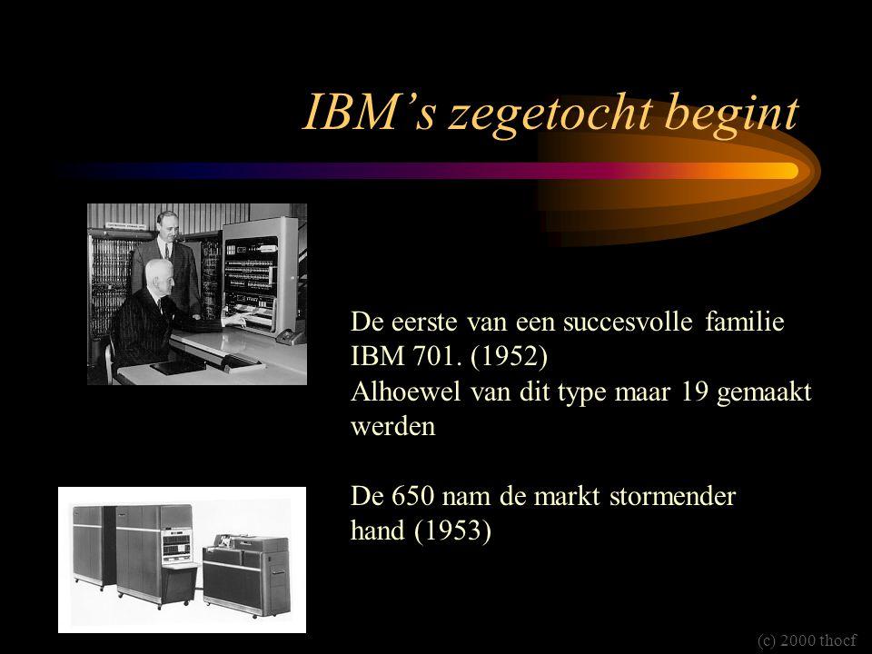 IBM's zegetocht begint De eerste van een succesvolle familie IBM 701. (1952) Alhoewel van dit type maar 19 gemaakt werden De 650 nam de markt stormend