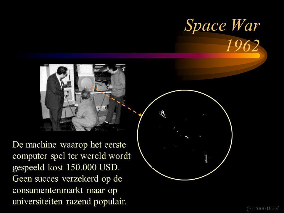 Space War 1962 De machine waarop het eerste computer spel ter wereld wordt gespeeld kost 150.000 USD. Geen succes verzekerd op de consumentenmarkt maa