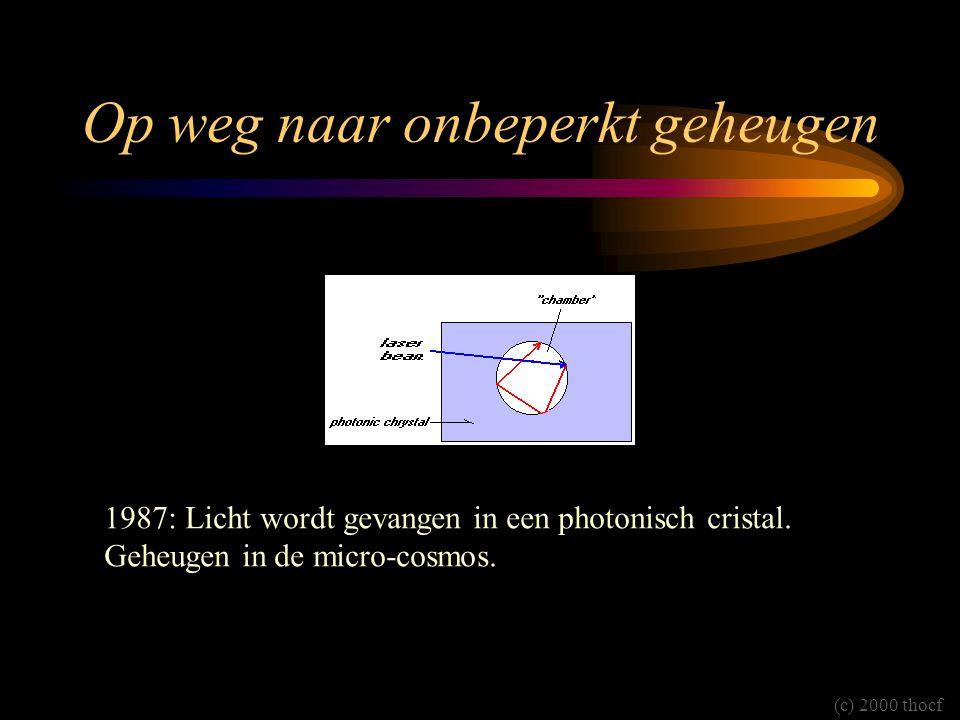 Op weg naar onbeperkt geheugen 1987: Licht wordt gevangen in een photonisch cristal. Geheugen in de micro-cosmos. (c) 2000 thocf