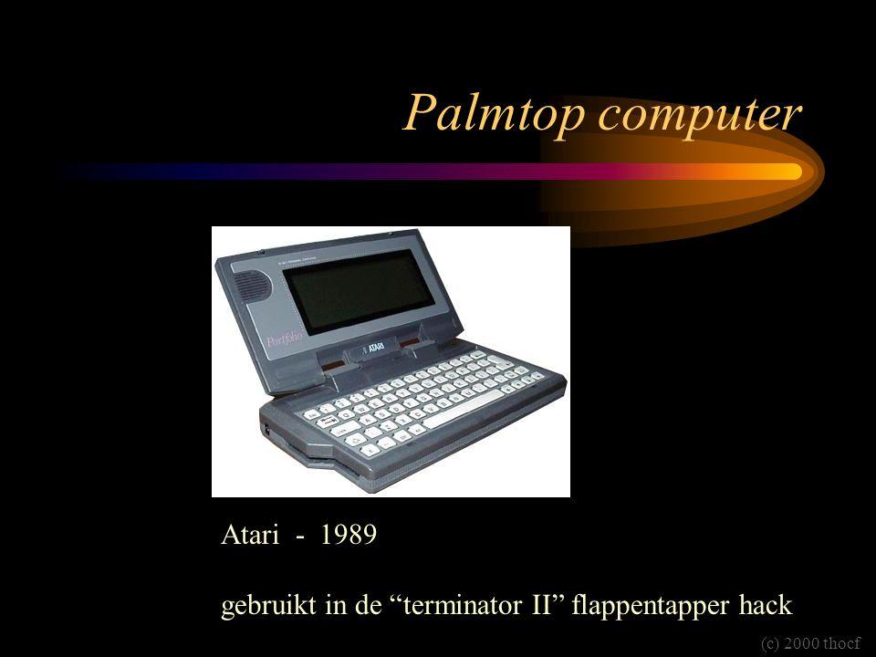 """Palmtop computer Atari - 1989 gebruikt in de """"terminator II"""" flappentapper hack (c) 2000 thocf"""