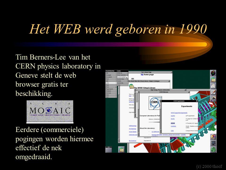 Het WEB werd geboren in 1990 Tim Berners-Lee van het CERN physics laboratory in Geneve stelt de web browser gratis ter beschikking. Eerdere (commercie