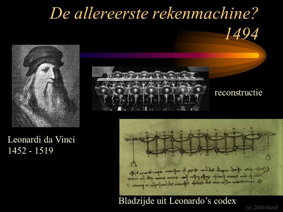 De allereerste rekenmachine? 1494 Leonardi da Vinci 1452 - 1519 reconstructie Bladzijde uit Leonardo's codex (c) 2000 thocf