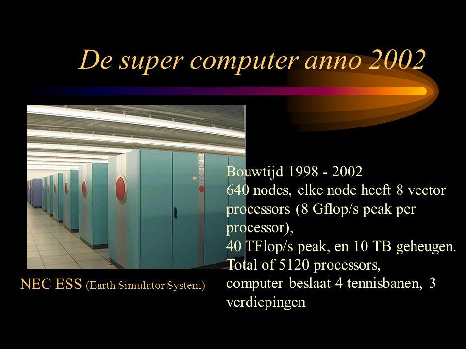 De super computer anno 2002 Bouwtijd 1998 - 2002 640 nodes, elke node heeft 8 vector processors (8 Gflop/s peak per processor), 40 TFlop/s peak, en 10 TB geheugen.