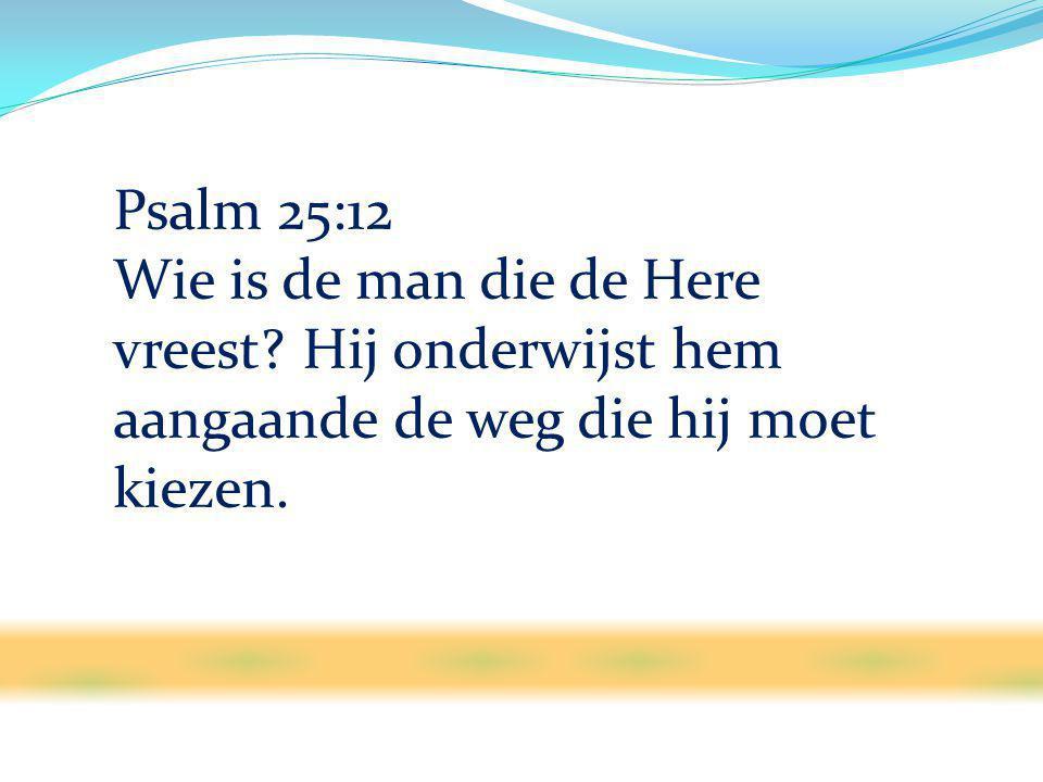 Psalm 25:12 Wie is de man die de Here vreest? Hij onderwijst hem aangaande de weg die hij moet kiezen.