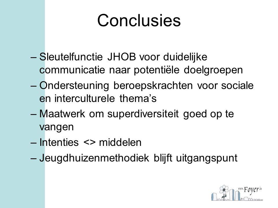 Conclusies –Sleutelfunctie JHOB voor duidelijke communicatie naar potentiële doelgroepen –Ondersteuning beroepskrachten voor sociale en interculturele