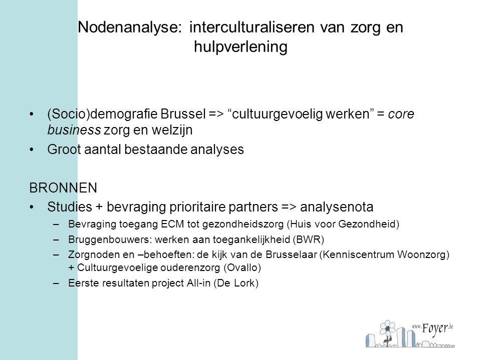 """Nodenanalyse: interculturaliseren van zorg en hulpverlening (Socio)demografie Brussel => """"cultuurgevoelig werken"""" = core business zorg en welzijn Groo"""