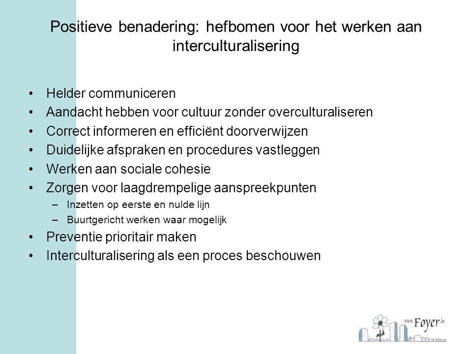 Positieve benadering: hefbomen voor het werken aan interculturalisering Helder communiceren Aandacht hebben voor cultuur zonder overculturaliseren Cor
