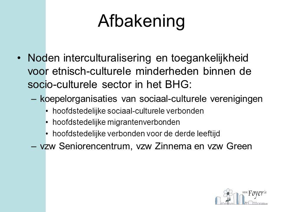 Afbakening Noden interculturalisering en toegankelijkheid voor etnisch-culturele minderheden binnen de socio-culturele sector in het BHG: –koepelorgan