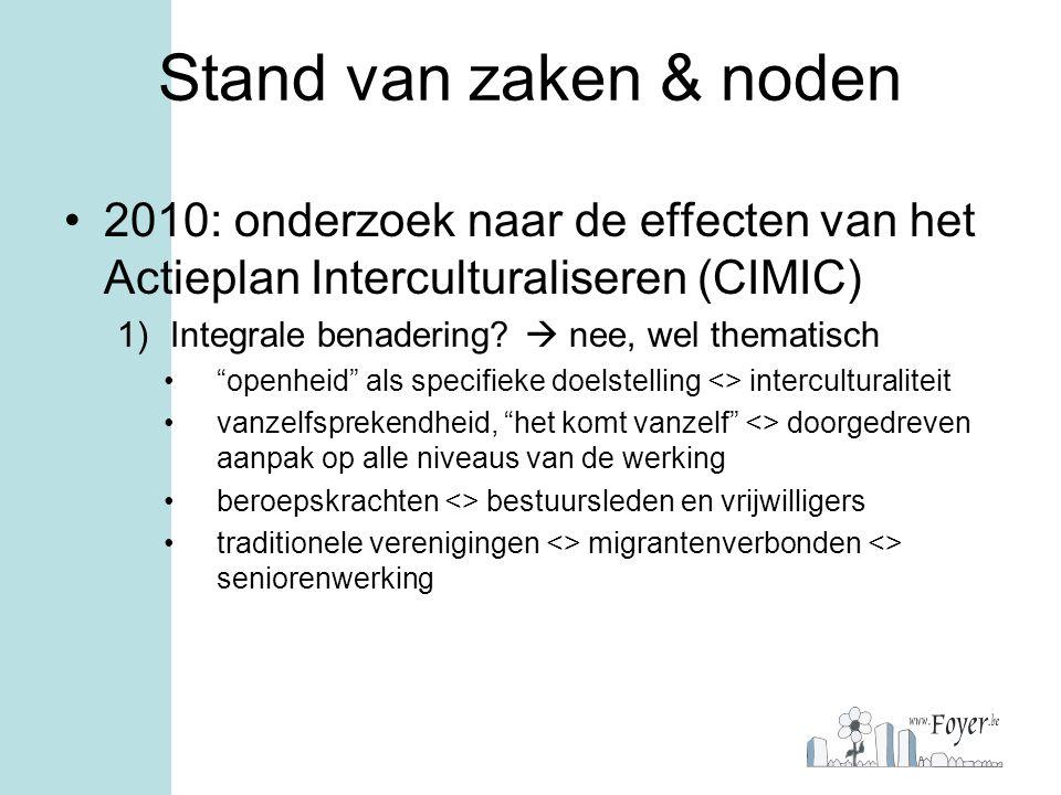 """Stand van zaken & noden 2010: onderzoek naar de effecten van het Actieplan Interculturaliseren (CIMIC) 1)Integrale benadering?  nee, wel thematisch """""""