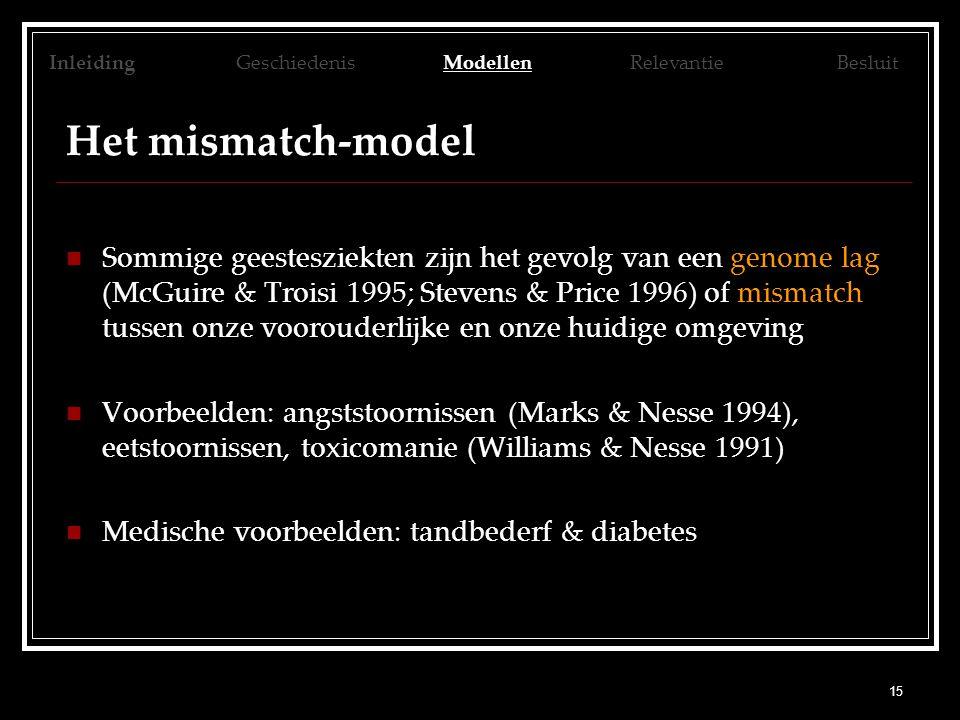 15 Het mismatch-model Sommige geestesziekten zijn het gevolg van een genome lag (McGuire & Troisi 1995; Stevens & Price 1996) of mismatch tussen onze