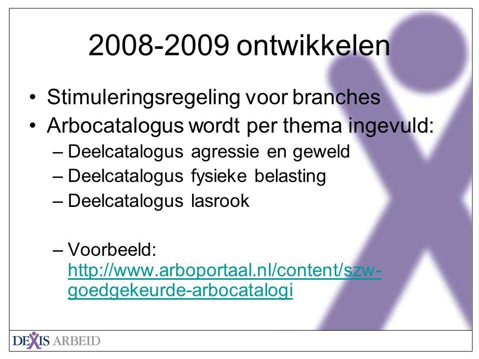 Klik om het opmaakprofiel van de modeltitel te bewerken Klik om de opmaakprofielen van de modeltekst te bewerken Tweede niveau Derde niveau Vierde niveau Vijfde niveau 20 2008-2009 ontwikkelen Stimuleringsregeling voor branches Arbocatalogus wordt per thema ingevuld: –Deelcatalogus agressie en geweld –Deelcatalogus fysieke belasting –Deelcatalogus lasrook –Voorbeeld: http://www.arboportaal.nl/content/szw- goedgekeurde-arbocatalogi http://www.arboportaal.nl/content/szw- goedgekeurde-arbocatalogi