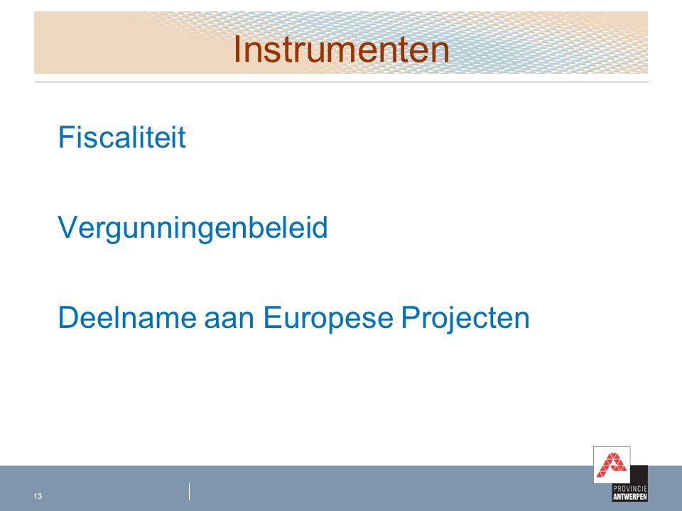 Instrumenten Fiscaliteit Vergunningenbeleid Deelname aan Europese Projecten 13