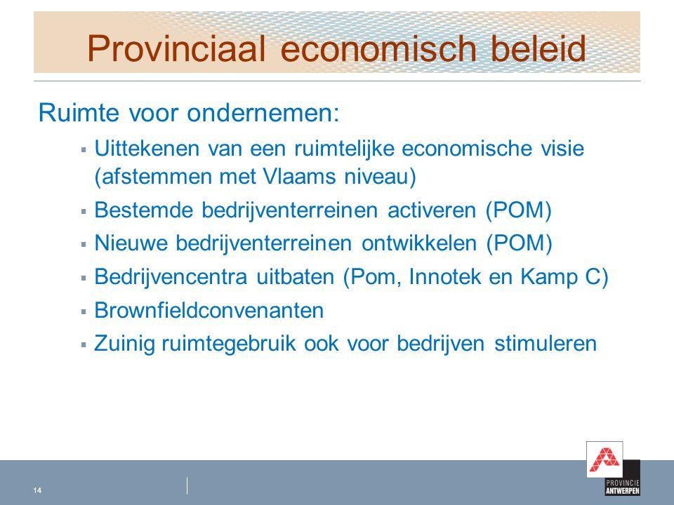 Provinciaal economisch beleid Ruimte voor ondernemen:  Uittekenen van een ruimtelijke economische visie (afstemmen met Vlaams niveau)  Bestemde bedr