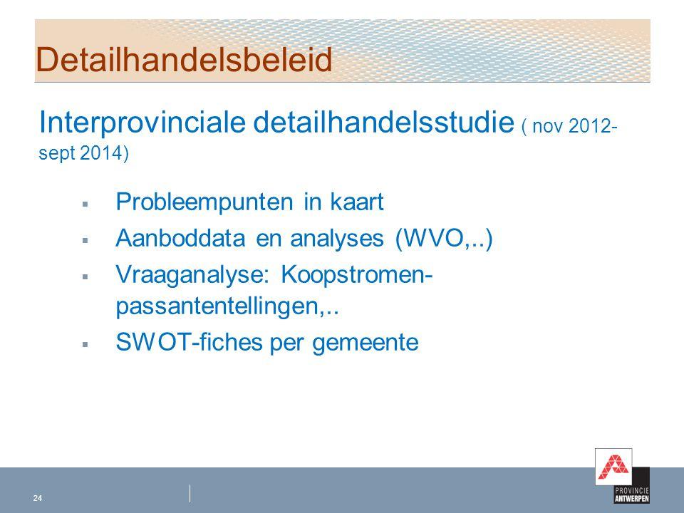Interprovinciale detailhandelsstudie ( nov 2012- sept 2014)  Probleempunten in kaart  Aanboddata en analyses (WVO,..)  Vraaganalyse: Koopstromen- p