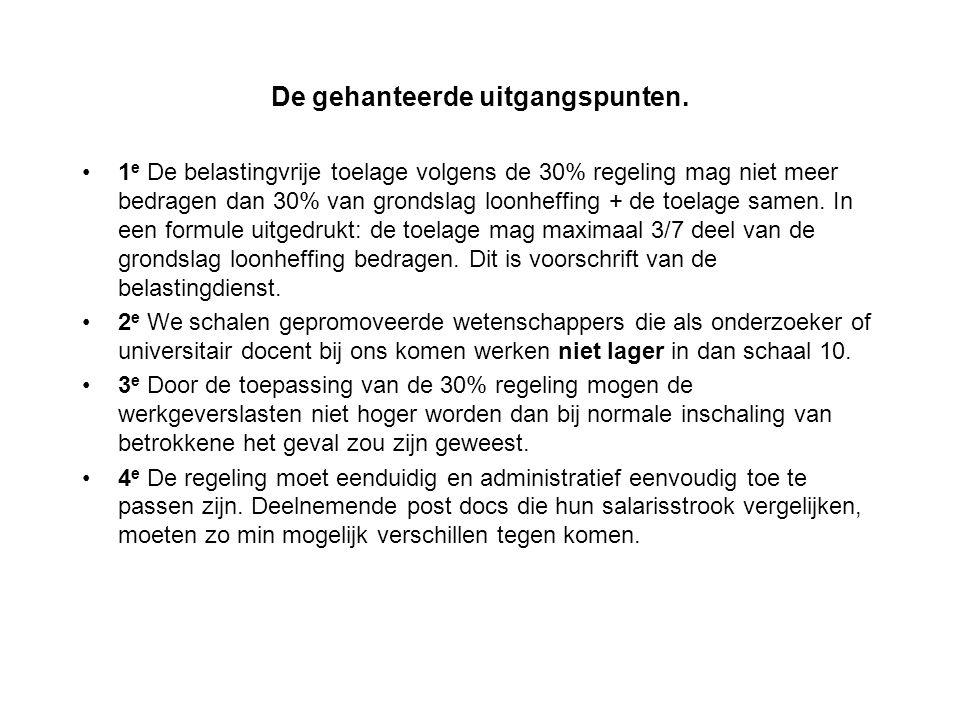 De gehanteerde uitgangspunten. 1 e De belastingvrije toelage volgens de 30% regeling mag niet meer bedragen dan 30% van grondslag loonheffing + de toe