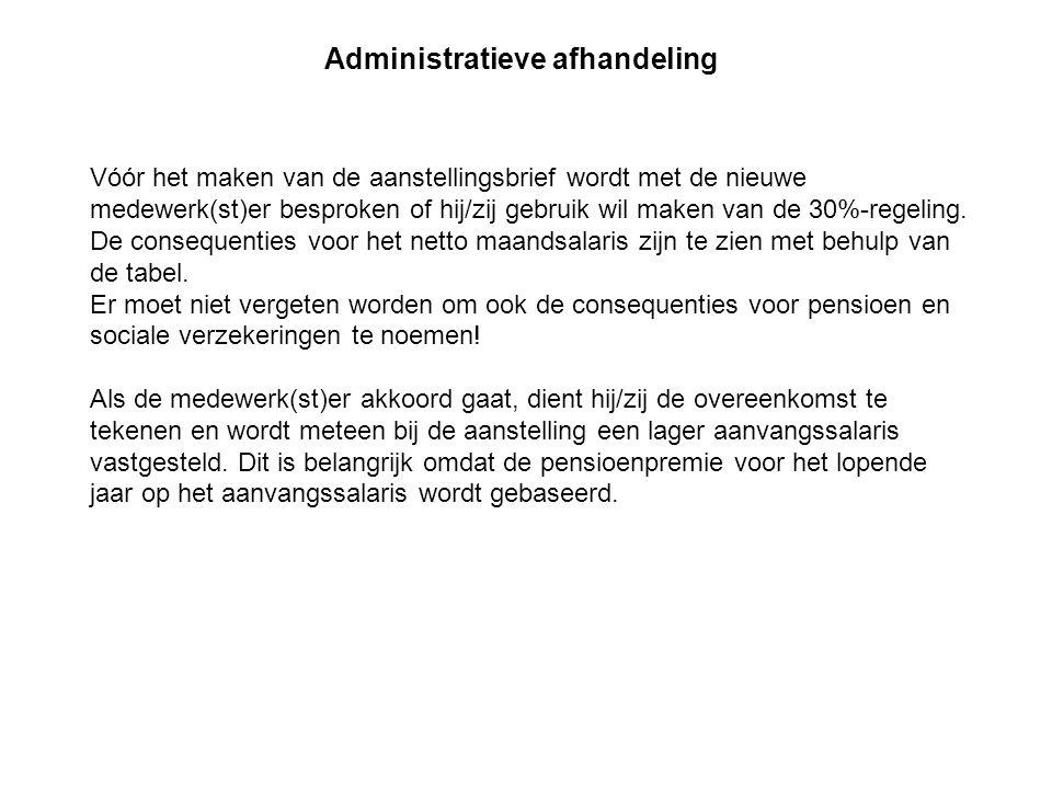 Vóór het maken van de aanstellingsbrief wordt met de nieuwe medewerk(st)er besproken of hij/zij gebruik wil maken van de 30%-regeling. De consequentie