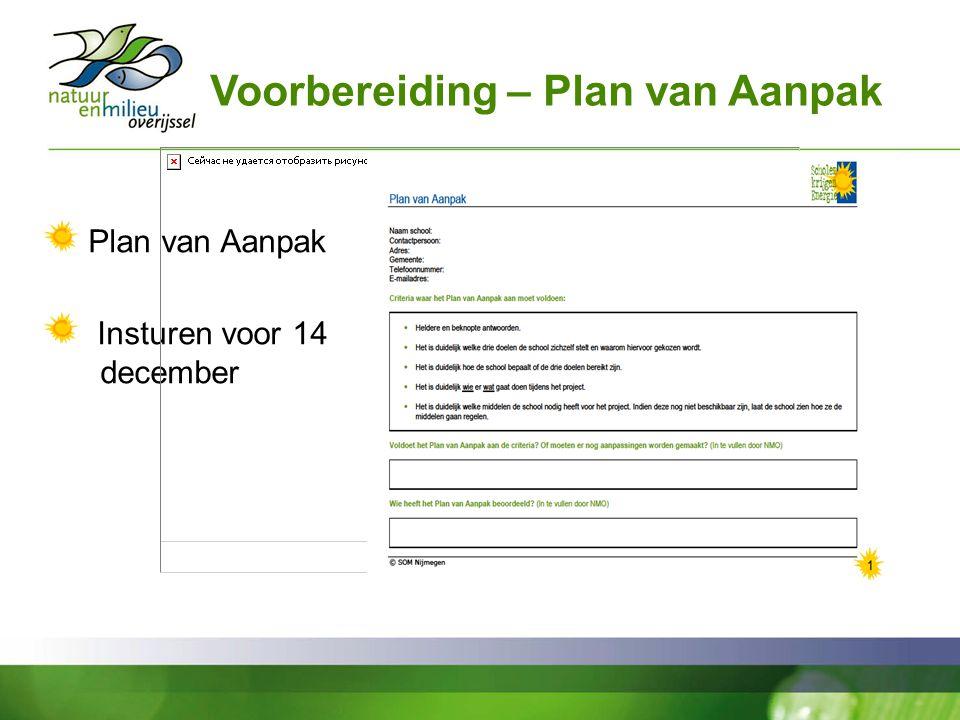 Voorbereiding – Plan van Aanpak Plan van Aanpak Insturen voor 14 december
