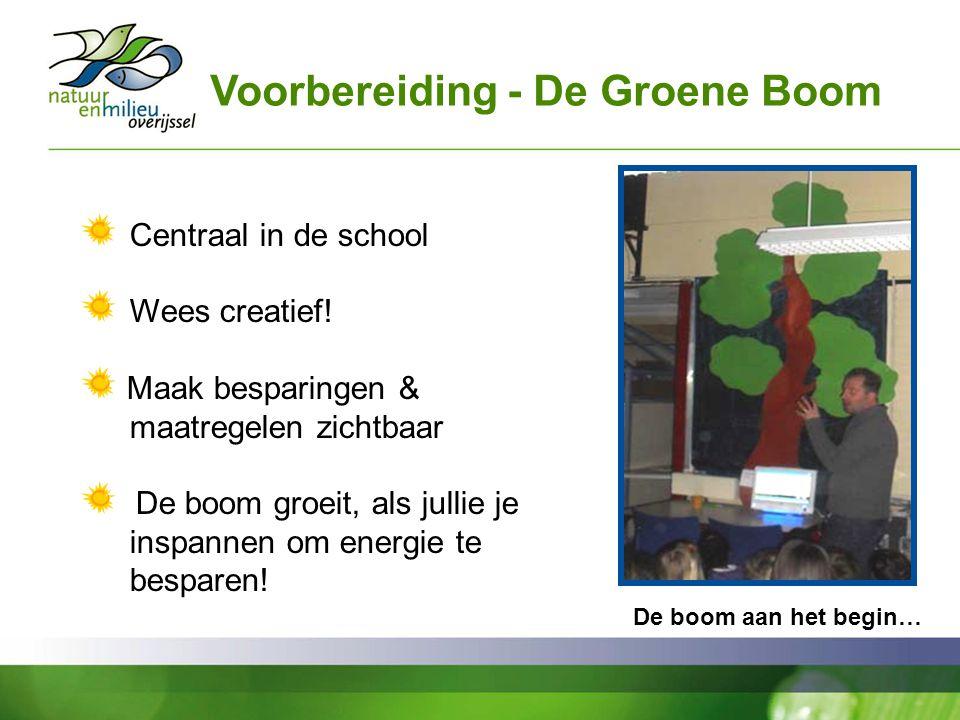 Voorbereiding - De Groene Boom Centraal in de school Wees creatief! Maak besparingen & maatregelen zichtbaar De boom groeit, als jullie je inspannen o
