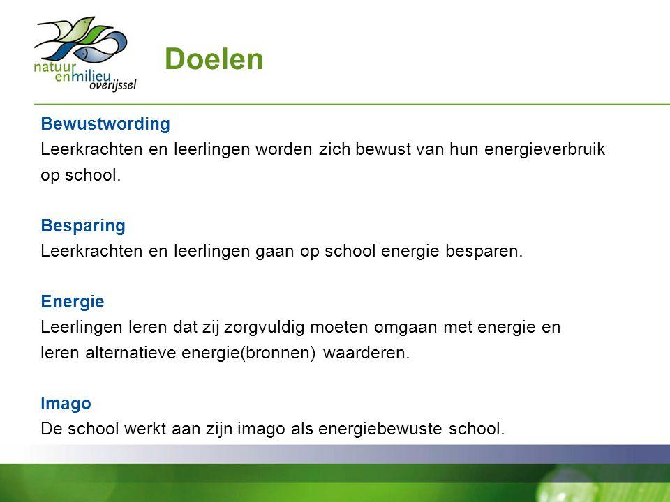 Doelen Bewustwording Leerkrachten en leerlingen worden zich bewust van hun energieverbruik op school. Besparing Leerkrachten en leerlingen gaan op sch