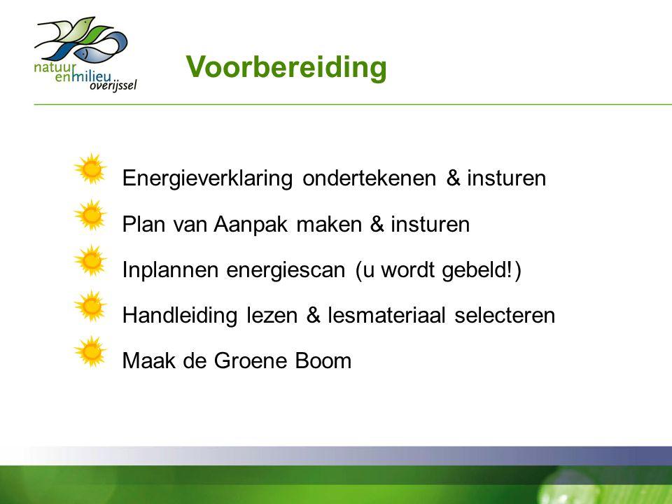 Voorbereiding Energieverklaring ondertekenen & insturen Plan van Aanpak maken & insturen Inplannen energiescan (u wordt gebeld!) Handleiding lezen & lesmateriaal selecteren Maak de Groene Boom