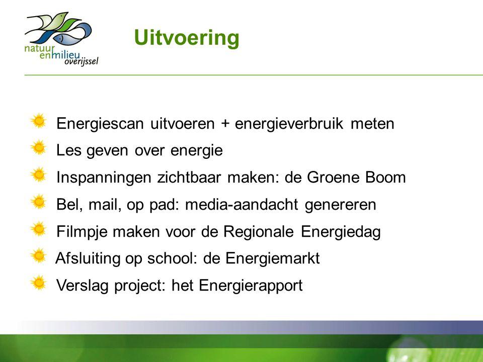 Uitvoering Energiescan uitvoeren + energieverbruik meten Les geven over energie Inspanningen zichtbaar maken: de Groene Boom Bel, mail, op pad: media-aandacht genereren Filmpje maken voor de Regionale Energiedag Afsluiting op school: de Energiemarkt Verslag project: het Energierapport