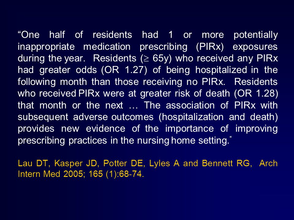 One half of residents had 1 or more potentially inappropriate medication prescribing (PIRx) exposures during the year.