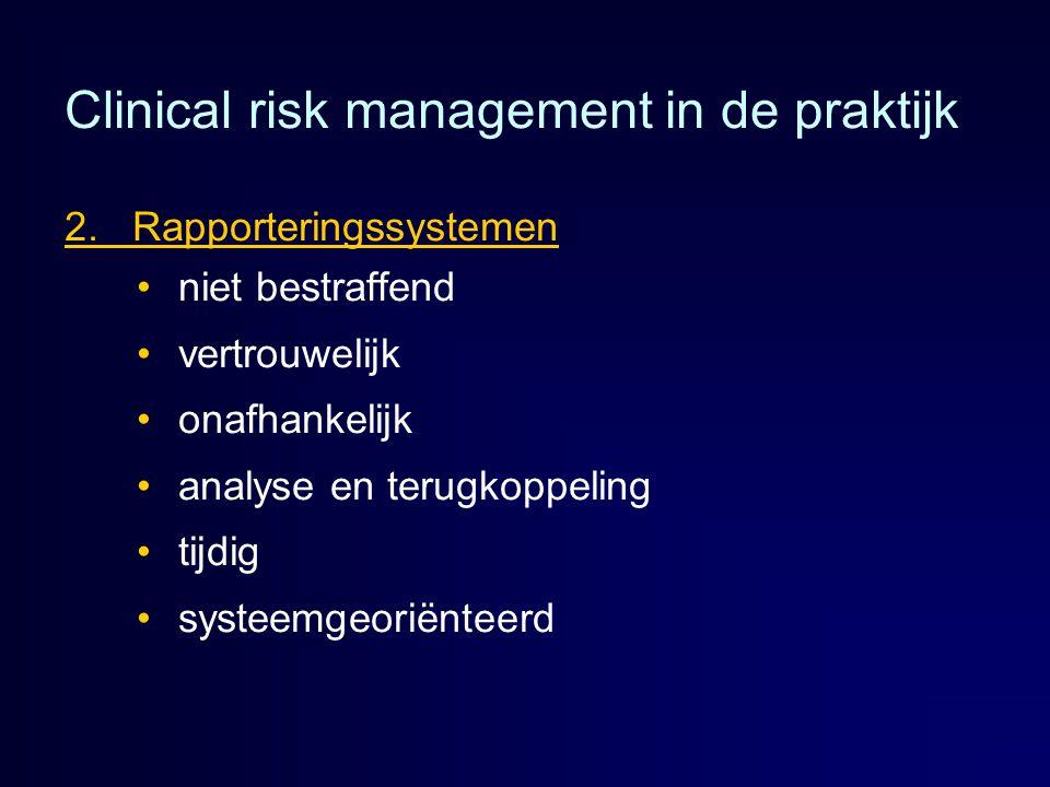 Clinical risk management in de praktijk 2. Rapporteringssystemen niet bestraffend vertrouwelijk onafhankelijk analyse en terugkoppeling tijdig systeem