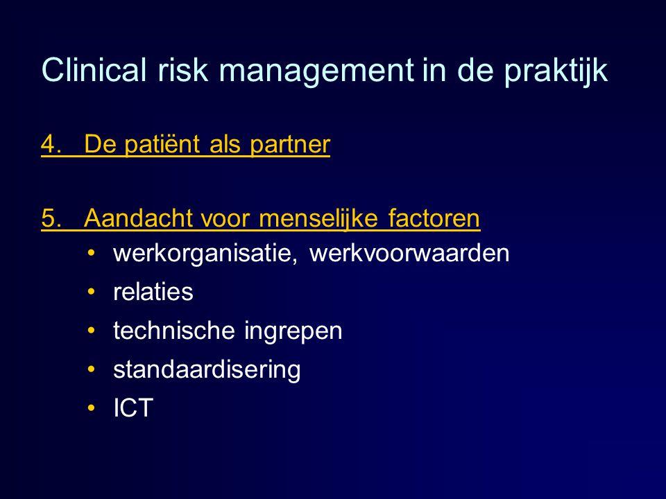Clinical risk management in de praktijk 4. De patiënt als partner 5. Aandacht voor menselijke factoren werkorganisatie, werkvoorwaarden relaties techn