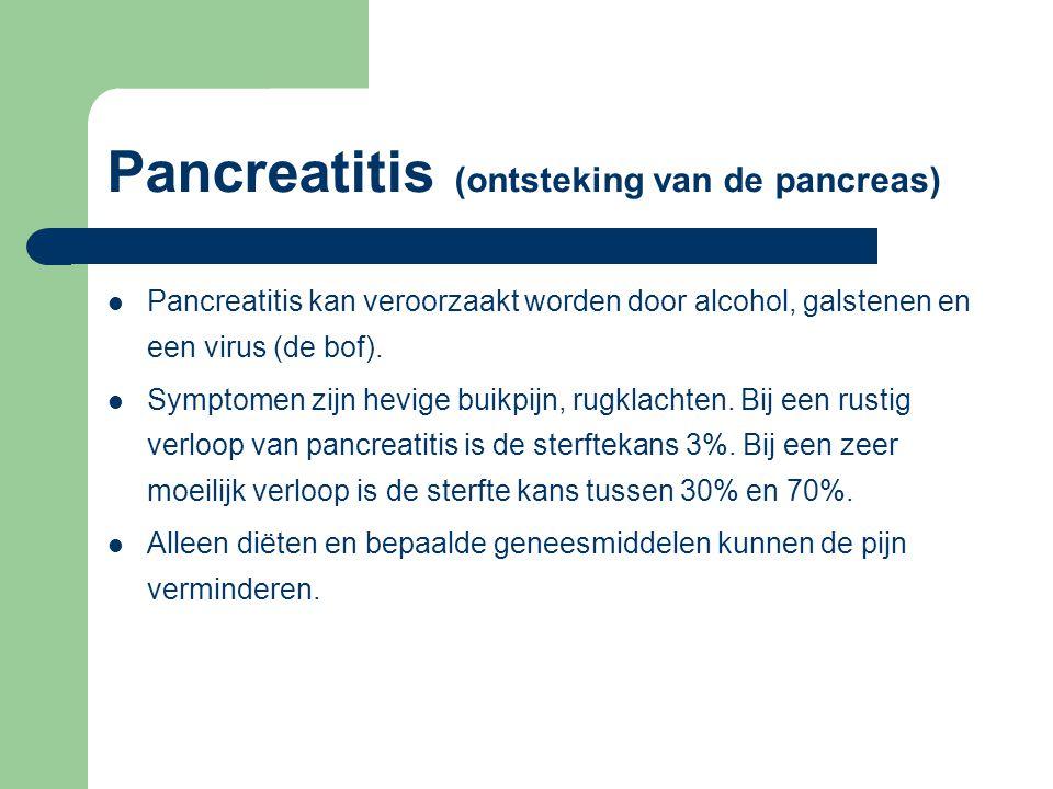 Pancreatitis (ontsteking van de pancreas) Pancreatitis kan veroorzaakt worden door alcohol, galstenen en een virus (de bof). Symptomen zijn hevige bui