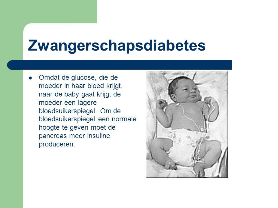 Zwangerschapsdiabetes Omdat de glucose, die de moeder in haar bloed krijgt, naar de baby gaat krijgt de moeder een lagere bloedsuikerspiegel. Om de bl