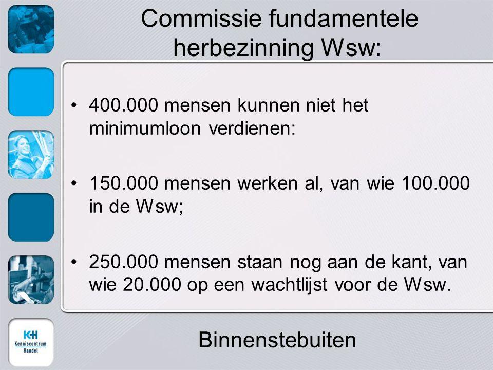400.000 mensen kunnen niet het minimumloon verdienen: 150.000 mensen werken al, van wie 100.000 in de Wsw; 250.000 mensen staan nog aan de kant, van wie 20.000 op een wachtlijst voor de Wsw.