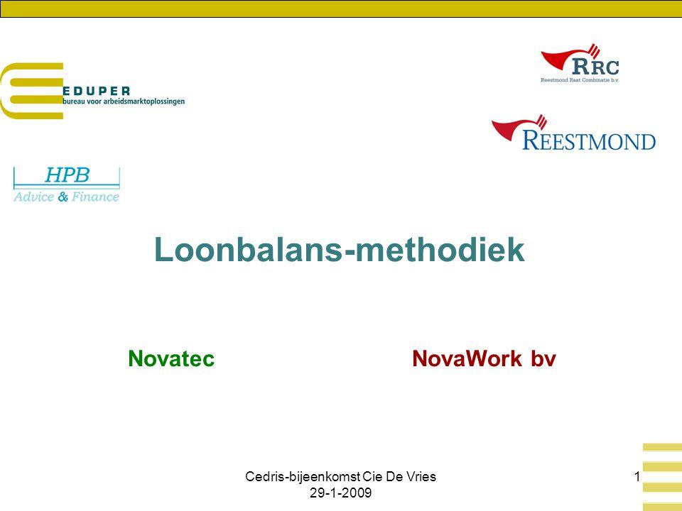 Cedris-bijeenkomst Cie De Vries 29-1-2009 1 Loonbalans-methodiek Novatec NovaWork bv