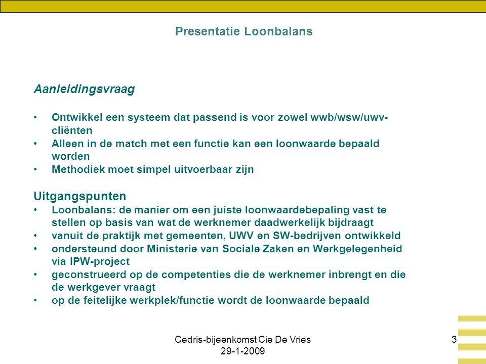 Cedris-bijeenkomst Cie De Vries 29-1-2009 3 Aanleidingsvraag Ontwikkel een systeem dat passend is voor zowel wwb/wsw/uwv- cliënten Alleen in de match met een functie kan een loonwaarde bepaald worden Methodiek moet simpel uitvoerbaar zijn Uitgangspunten Loonbalans: de manier om een juiste loonwaardebepaling vast te stellen op basis van wat de werknemer daadwerkelijk bijdraagt vanuit de praktijk met gemeenten, UWV en SW-bedrijven ontwikkeld ondersteund door Ministerie van Sociale Zaken en Werkgelegenheid via IPW-project geconstrueerd op de competenties die de werknemer inbrengt en die de werkgever vraagt op de feitelijke werkplek/functie wordt de loonwaarde bepaald Presentatie Loonbalans