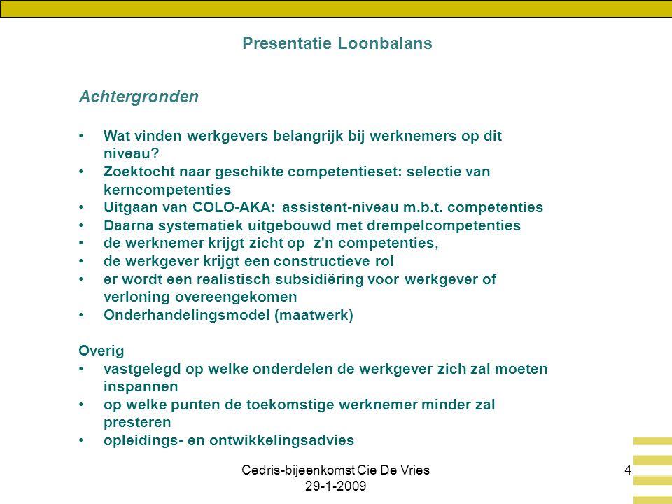 Cedris-bijeenkomst Cie De Vries 29-1-2009 4 Achtergronden Wat vinden werkgevers belangrijk bij werknemers op dit niveau.