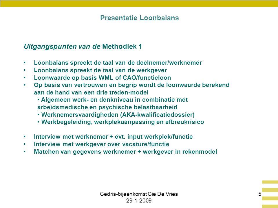 Cedris-bijeenkomst Cie De Vries 29-1-2009 5 Uitgangspunten van de Methodiek 1 Loonbalans spreekt de taal van de deelnemer/werknemer Loonbalans spreekt de taal van de werkgever Loonwaarde op basis WML of CAO/functieloon Op basis van vertrouwen en begrip wordt de loonwaarde berekend aan de hand van een drie treden-model Algemeen werk- en denkniveau in combinatie met arbeidsmedische en psychische belastbaarheid Werknemersvaardigheden (AKA-kwalificatiedossier) Werkbegeleiding, werkplekaanpassing en afbreukrisico Interview met werknemer + evt.