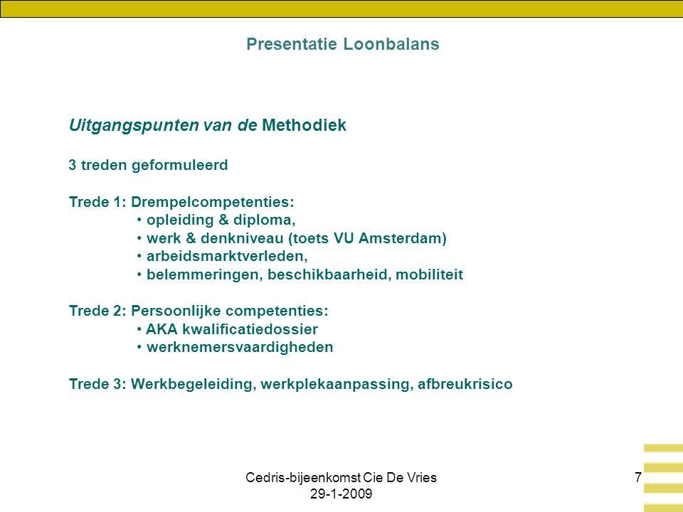 Cedris-bijeenkomst Cie De Vries 29-1-2009 7 Uitgangspunten van de Methodiek 3 treden geformuleerd Trede 1: Drempelcompetenties: opleiding & diploma, werk & denkniveau (toets VU Amsterdam) arbeidsmarktverleden, belemmeringen, beschikbaarheid, mobiliteit Trede 2: Persoonlijke competenties: AKA kwalificatiedossier werknemersvaardigheden Trede 3: Werkbegeleiding, werkplekaanpassing, afbreukrisico Presentatie Loonbalans