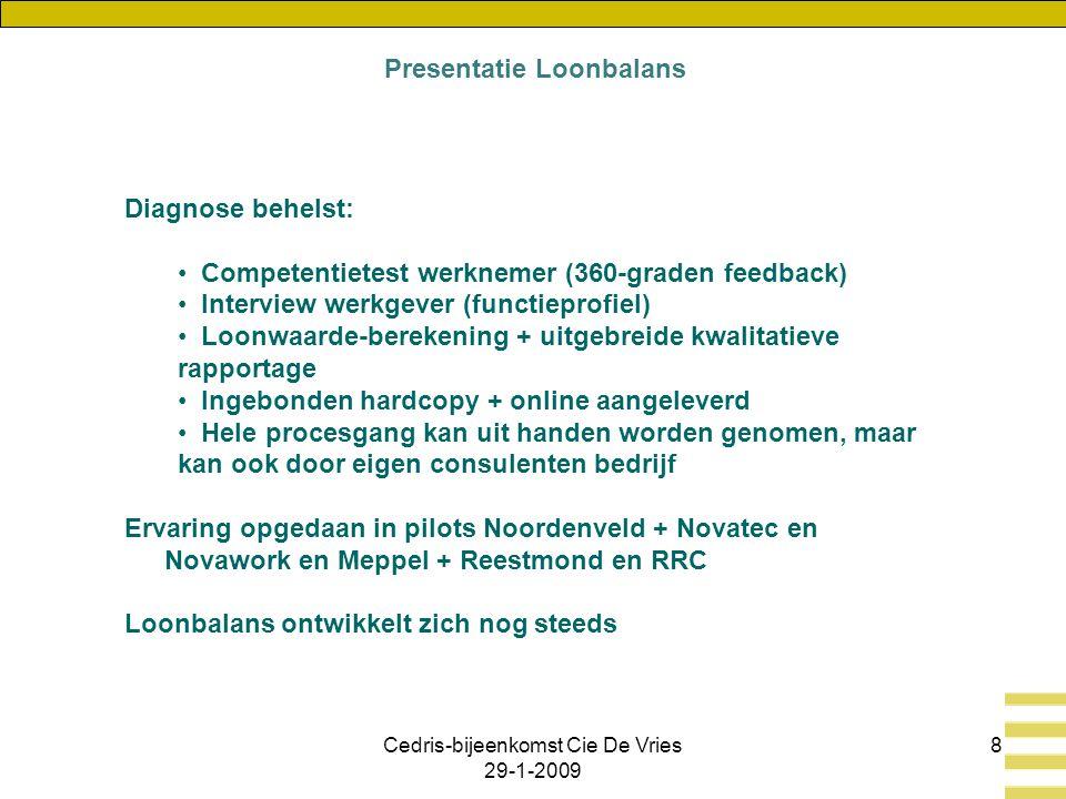Cedris-bijeenkomst Cie De Vries 29-1-2009 8 Diagnose behelst: Competentietest werknemer (360-graden feedback) Interview werkgever (functieprofiel) Loonwaarde-berekening + uitgebreide kwalitatieve rapportage Ingebonden hardcopy + online aangeleverd Hele procesgang kan uit handen worden genomen, maar kan ook door eigen consulenten bedrijf Ervaring opgedaan in pilots Noordenveld + Novatec en Novawork en Meppel + Reestmond en RRC Loonbalans ontwikkelt zich nog steeds Presentatie Loonbalans