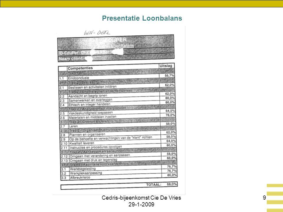 Cedris-bijeenkomst Cie De Vries 29-1-2009 9 Presentatie Loonbalans