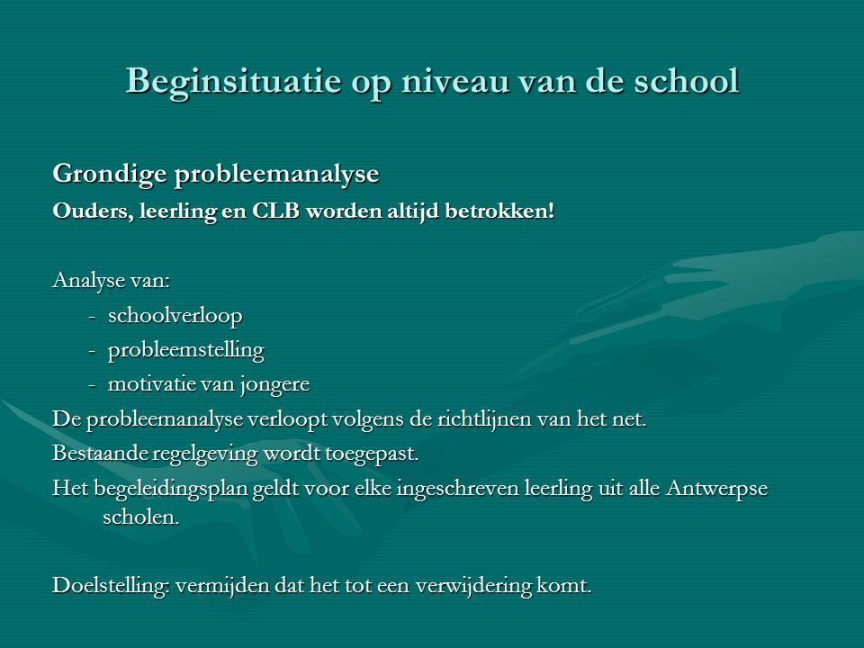 Beginsituatie op niveau van de school Grondige probleemanalyse Ouders, leerling en CLB worden altijd betrokken! Analyse van: - schoolverloop - schoolv