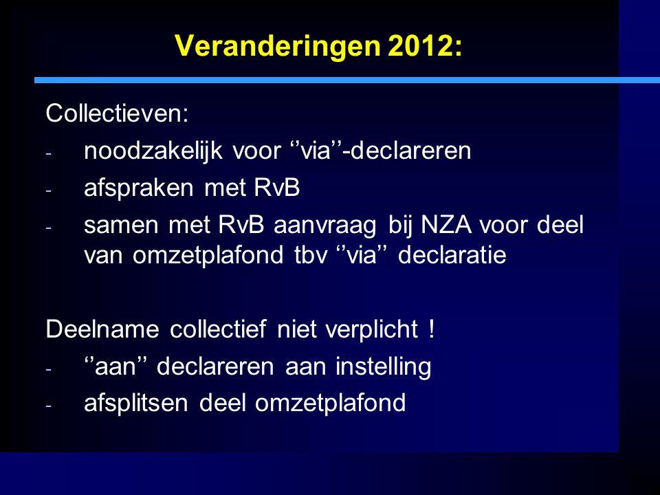 Veranderingen 2012: Collectieven: - noodzakelijk voor ''via''-declareren - afspraken met RvB - samen met RvB aanvraag bij NZA voor deel van omzetplafo