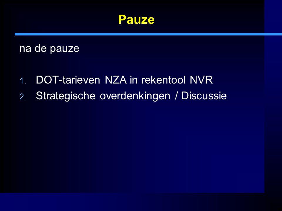 Pauze na de pauze 1. DOT-tarieven NZA in rekentool NVR 2. Strategische overdenkingen / Discussie