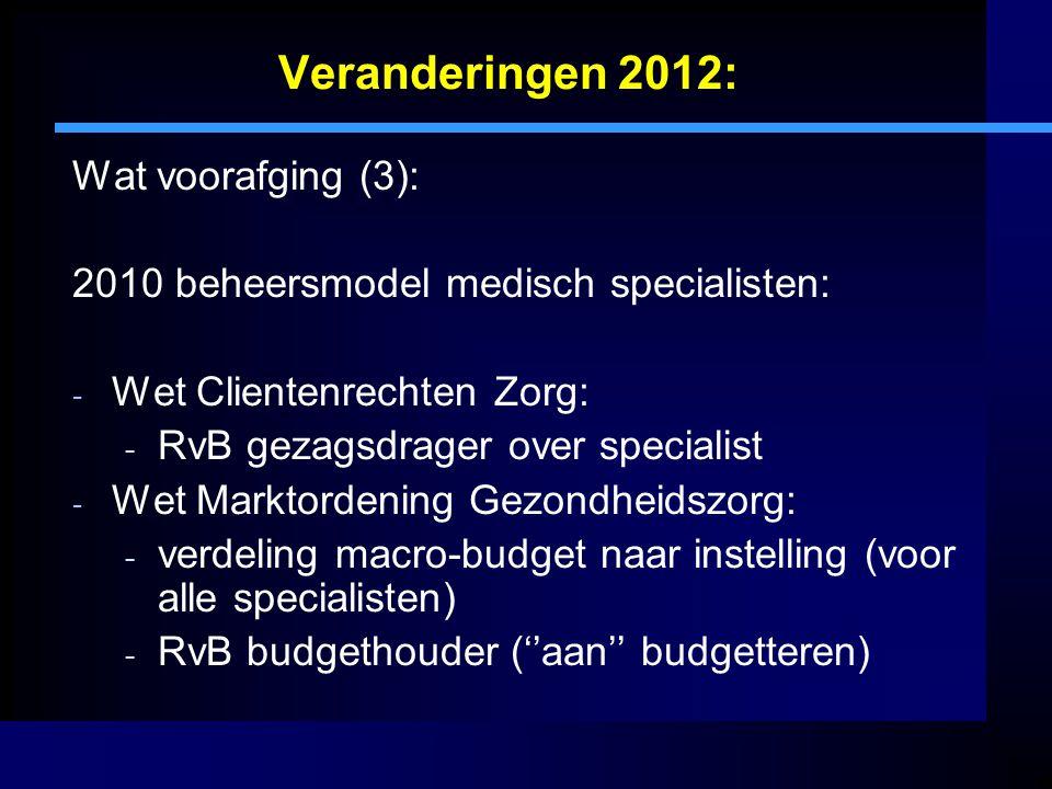 Veranderingen 2012: Wat voorafging (3): 2010 beheersmodel medisch specialisten: - Wet Clientenrechten Zorg: - RvB gezagsdrager over specialist - Wet M