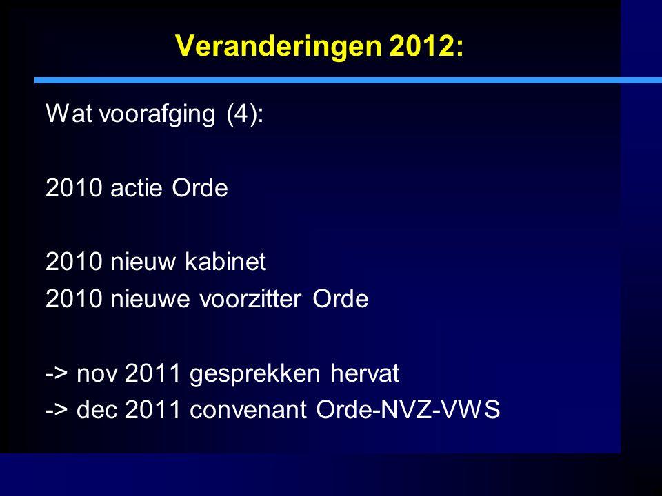 Veranderingen 2012: Wat voorafging (4): 2010 actie Orde 2010 nieuw kabinet 2010 nieuwe voorzitter Orde -> nov 2011 gesprekken hervat -> dec 2011 conve