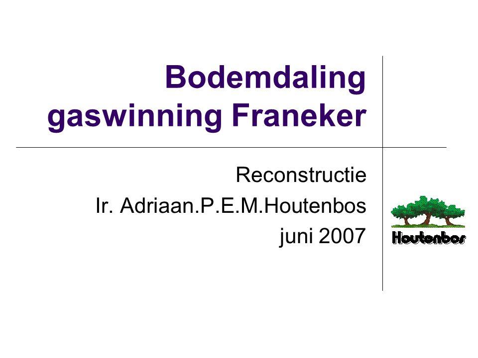 2 Bodemdaling bij Franeker Integrale 4D analyse bodemdalingsmetingen 1988-2006 NW Friesland 20.5 cm daling door gaswinning nabij Franeker in 2006 tegen 10 cm (± 20%) voorspeld voor 2016 versnellend, nu 2.1 cm/jaar (ineenstortend gesteente?) bij doorzetting van deze versnelling 50 cm daling in 2016 Actie Vermilion onder SodM toezicht Vermilion rapporteert aanvankelijk 13 cm daling laboratorium onderzoek gesteente-eigenschappen: resultaat verschilt sterk van prognoseaannames, overeenstemmend met 3 of 7 cm daling afhankelijk van hypothese en niet met gemeten 13 cm daling.