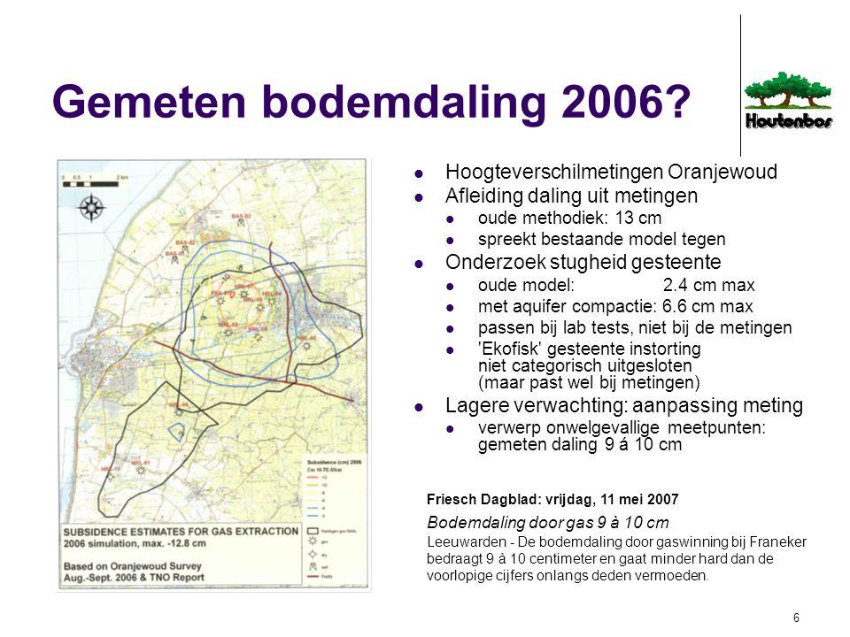 7 Gemeten bodemdaling 2006 SodM op de hoogte van zwaktes oude rekenprocedure manipuleerbare invulling van plaatsen/tijden waarop niet gemeten is onjuiste toedeling aan autonome oorzaken geregisseerd door experts in het maken van voorspellingen (geomechanici), niet door experts in het verifiëren van die voorspellingen (geodeten) Integrale 4D rekenprocedure sinds 1999 SodM goedgekeurd o.a.