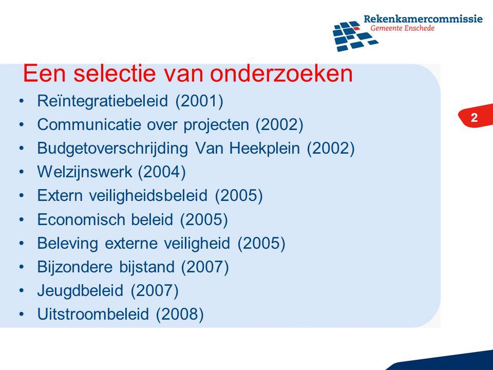 2 Reïntegratiebeleid (2001) Communicatie over projecten (2002) Budgetoverschrijding Van Heekplein (2002) Welzijnswerk (2004) Extern veiligheidsbeleid (2005) Economisch beleid (2005) Beleving externe veiligheid (2005) Bijzondere bijstand (2007) Jeugdbeleid (2007) Uitstroombeleid (2008) 2 Een selectie van onderzoeken